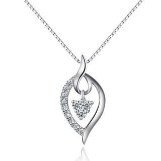 18k White Gold Diamond Accents Drop Shaped Pendant Necklace (0.15cttw) (free 925 Silver Box Chain, 16)