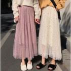 Sequined Star Midi A-line Mesh Skirt