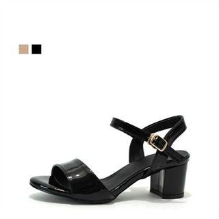Patent Chunky-heel Sandals