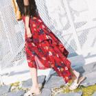 Floral Ruffle Chiffon Long Skirt