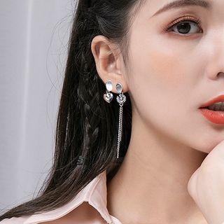 925 Sterling Siler Daisy & Sweetheart Drop Asymmetric Earrings Earring - One Size