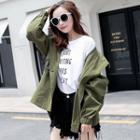 Plain Drawstring Hooded Jacket