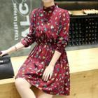 Leaf Print Long-sleeve A-line Chiffon Dress