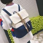 Canvas Color-block Buckled Backpack