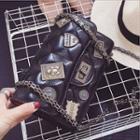 Faux-leather Twist-lock Studded Shoulder Bag