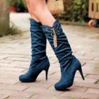 Rhinestone High Heel Tall Boots