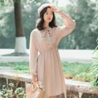 Plain Bow Accent Long Sleeve Chiffon Dress