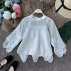 Eyelet-lace Bell-sleeve Blouse