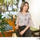 Elbow Sleeve Floral Chiffon Top
