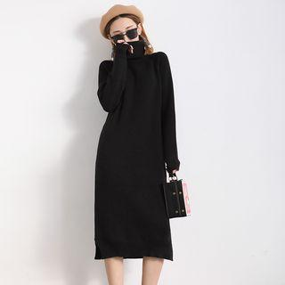 Turtleneck Knit Dress Black - One Size
