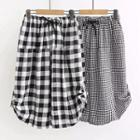 Gingham Wide-leg Cropped Pants