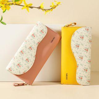 Floral Print Panel Long Wallet