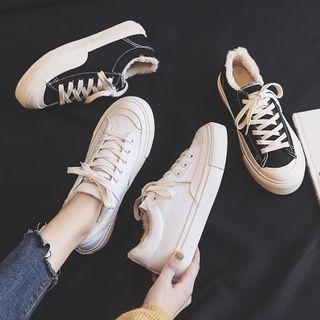 Furry Trim Canvas Sneakers