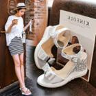 Star Print Wedge Sandals