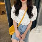 Dotted Short-sleeve Cropped Blouse White - One Size