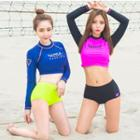 Lettering Long-sleeve Bikini
