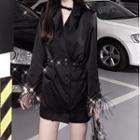 Furry Trim Double-breasted Blazer Blazer - Black - One Size