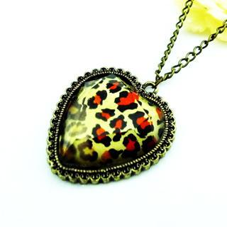 Leopard Heart Necklace Copper - One Size