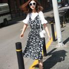 Mock Two-pieces Floral Printed Dress