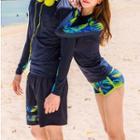 Couple Matching Set: Print Panel Rashguard + Swim Shorts