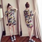 Short-sleeve Camouflage Printed Long Top
