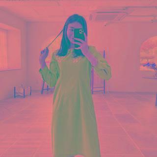Lace-collar Denim Dress Light Blue - One Size