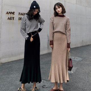 Striped Sweater / Midi Knit Skirt