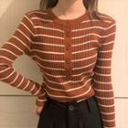 Striped Half Buttoned Knit Top