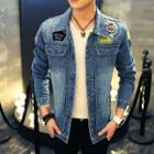 Appliqu  Distressed Denim Jacket