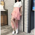 Asymmetric Layered Chiffon Skirt