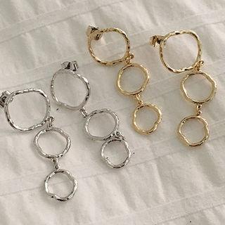 Metallic-hoop Drop Earrings