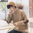 Elbow-patch Mock-neck Knit Sweater