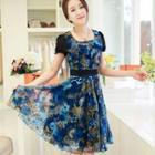 Short-sleeve Ruffled Printed Dress
