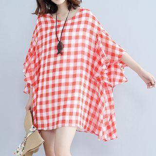 Short-sleeve Check Chiffon Dress