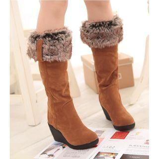 Wedge Furry Lined Tall Boots