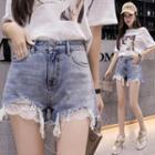 Lace Hem Distressed Denim Shorts