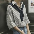 Striped 3/4-sleeve Shirt With Shawl