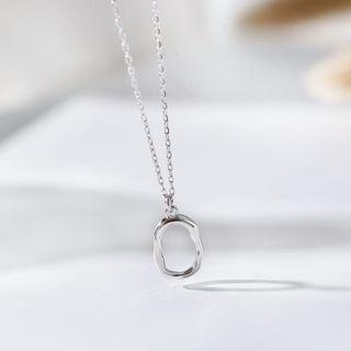 925 Sterling Silver Irregular Hoop Pendant Necklace Silver - One Size