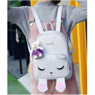 Cat Faux Leather Backpack With Bear Charm