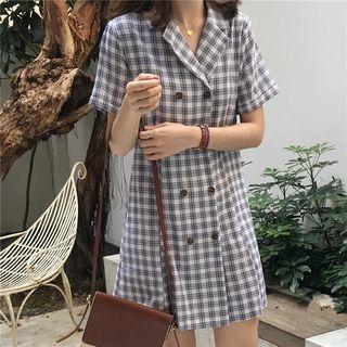 Short-sleeve Plaid Double Breasted Mini Coat Dress