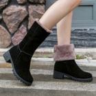 Block Heel Furry-lined Mid-calf Boots