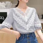 Lace Panel Pinstriped Top