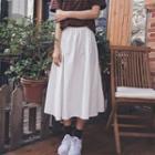 Plain Elastic-waist A-line Skirt