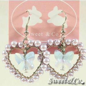 Sweet Lover Purple Heart Butterfly Earrings