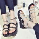 Ankle-strap Embellished Platform Sandals