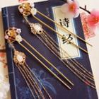 Retro Bead Floral Fringed Hair Pin