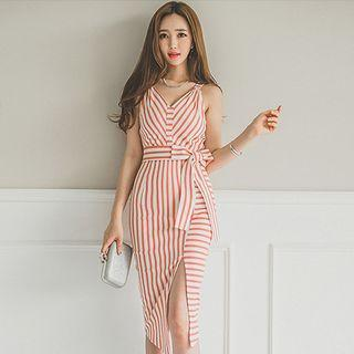 Striped Sleeveless Sheath Midi Dress