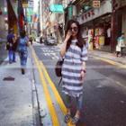 Elbow-sleeve Striped Midi Dress