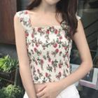 Floral Print Shirred Sleeveless Top