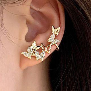 Non-matching Rhinestone Butterfly Earring 1 Pair - 925 Silver - One Size